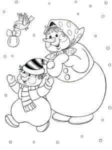 Снеговики и птичка с новогодним шаром