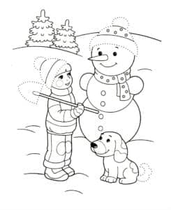 мальчик собачка и снеговик
