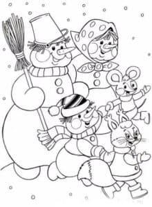 снеговики и белочка