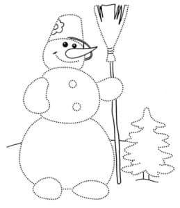 высокий снеговик раскраска по точкам
