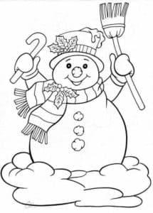 снеговик с конфетой и метлой