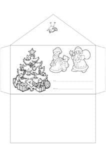 Письмо деду морозу с елкой раскраска