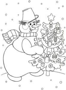 большой снеговик и елка
