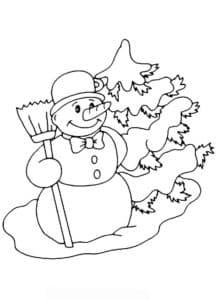 снеговик с метлой возле елки
