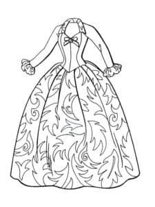 Платье с узорами раскраска для ребенка