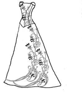 Платье и цветочками раскраска для ребенка