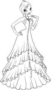 Девушка с широком волнистом платье