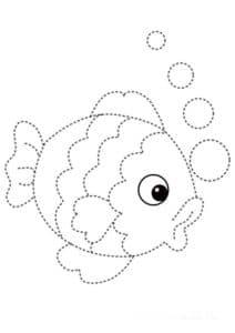 рыбка с пузырями раскраска по точкам