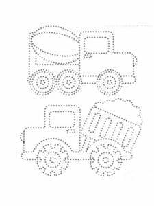 два грузовичка раскраска по точкам
