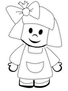 девочка с бантиком раскраска по точкам