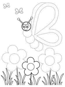раскраска по точкам бабочка и цветы