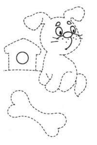щенок и косточка раскраска по точкам