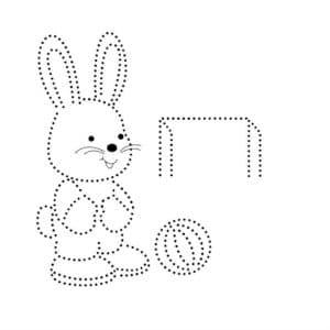 заяц с мячом и ворота раскраска по точкам