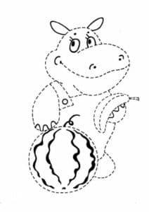 бегемот с арбузом раскраска по точкам