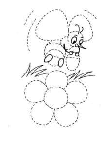 пчела возле цветка раскраска по точкам