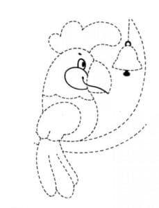 попугай с колокольчиком раскраска по точкам