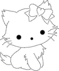 раскраска по точкам котенок