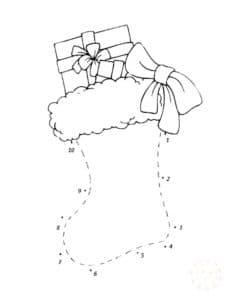 рождественский носок раскраска по точкам