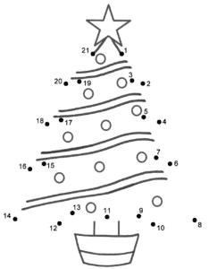 елка по точкам детская раскраска