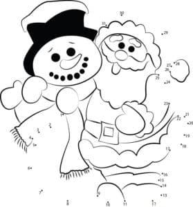 снеговик и дед мороз с точками