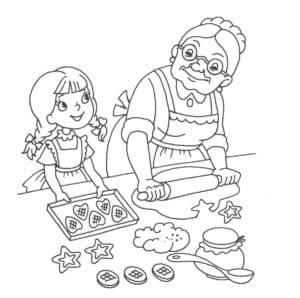 бабушка и внучка делают пельмени