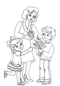 дети и мама детская раскраска