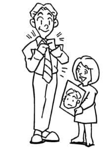 Дочка дарит картину папе