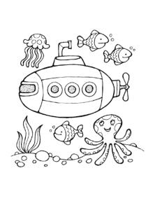 Подводная лодка и обитатели океана