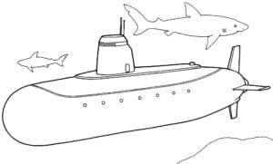 Подводная лодка и акулы