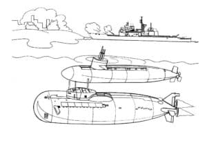 Две подводные лодки и корабль
