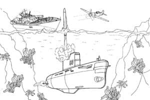 Подводная лодка выпускает ракету