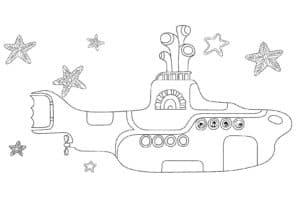 Подводная лодка и морские звезды