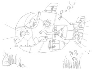 подводная лодка раскраска