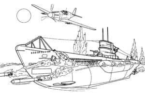 подводная лодка и самолет