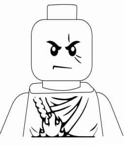 Раскраска Лего с огнем на груди