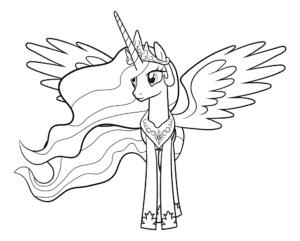 раскраска пони селестия с крыльями
