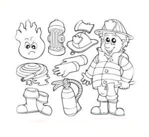 Набор пожарника раскраска
