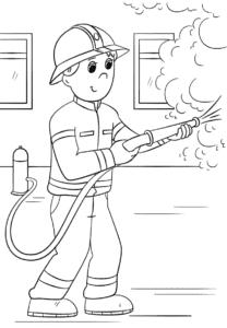 пожарник с шлангом