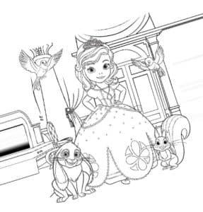 Принцесса София с зайчиком и белкой