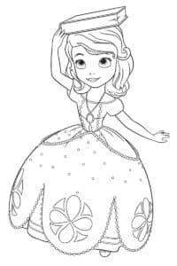Принцесса София держит на голове книгу