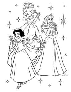 раскраска принцессы диснея в красивых платьях