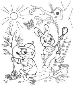 крот и зайчик на огороде