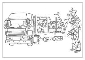 папа и ребенок смотрят на автовоз