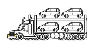автотранспортер и четыре машины