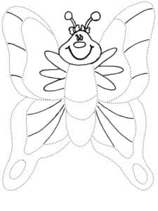 бабочка раскраска по точкам для детей