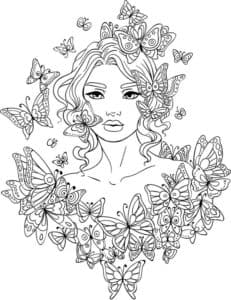 женщина в бабочках