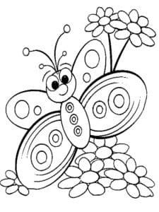 бабочка с маленькими ромашками