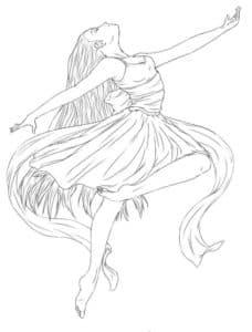 балерина с шикарным платьем детская раскраска