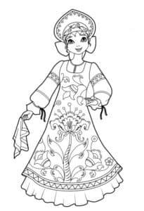 барышня в платье с узорами