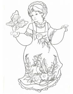 барышня держит большую бабочку
